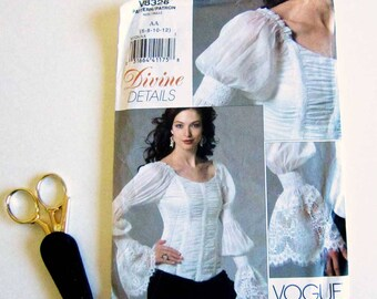RESERVED for ATAYLOR, Vogue Blouse Pattern, Long Sleeved, Gathered Bodice, Princess Seams, Renaissance, Lace Ruffled Cuff Size 6-12 Costume