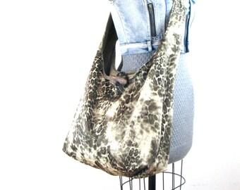 Large Crossbody Bag - Animal Print Bag - Beige Over the Shoulder Bag - Crossover Bag - Cross Shoulder Bag - Across the Body Bag - Vegan Bag