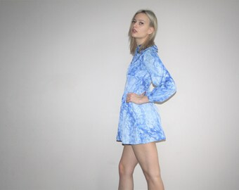 Vintage 1960s Micro Min Short Marbled Graphic Light Blue Baby Doll Mod Psychedelic Dress   -  60s  Dress  -  1960s Short  Dresses  - W00375