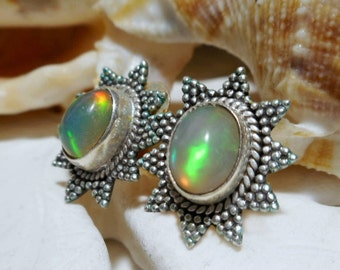 Sterling Silver Natural Opal Stud Earrings 3.00 grams
