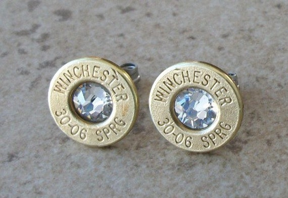 Winchester 30-06 Springfield Brass Bullet Earring, Lightweight Thin Cut, Clear Swarovski Crystal, Surgical Steel Post - 340