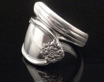 Antique Spoon Ring Flower, Remembrance 1948