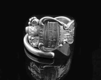 Sterling Silver Spoon Ring, Boston Souvenir Spoon