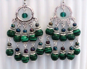 Chandelier Earrings, Boho Earrings, Shabby Chic Earrings, Gypsy Earrings, Double Tiered Earrings, Summer Earrings - EMERALD GARDEN