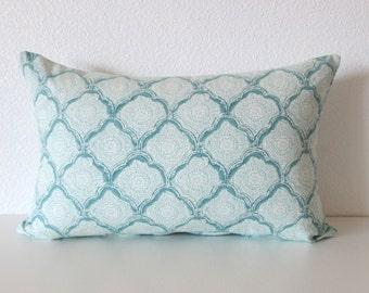 Moroccan Medallion Tile Aquamist Pillow Cover