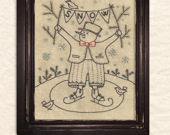 Primitive Folk Art Embroidery Pattern:  SNOW - JANUARY - Design by Kathy Schmitz