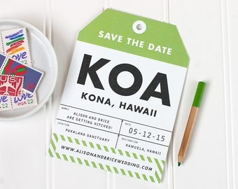 Luggage Tag Save the Date, Destination Wedding Save the Date, Travel Wedding Invitation, Hawaii Wedding Invite - Flat Printed - SAMPLE