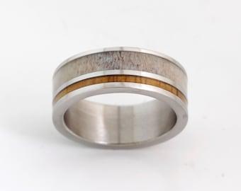 Antler Wedding Band Wood Ring Mens Titanium Man Jewelry Woman
