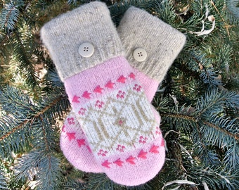 Pink Tan & White Fair Isle Women's Recycled Sweater Mittens