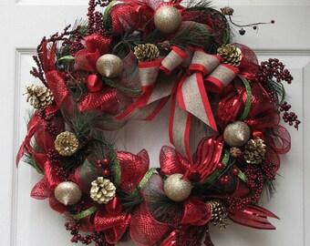 Winter Wreath, Deco Mesh Wreath, Front Door Wreath, Christmas Wreath, Outdoor Wreath