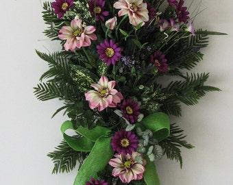 Spring Wreath, Summer Wreath, Purple Fields, Daisy Wreath, Door Hanging, Spring Swag, Spring Wreaths for Front Door