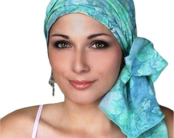 Hibiscus Jewel Blue Turquoise Turban Chemo Hat Head Wrap Alopecia Scarf Batik Boho, Chemo Turban, Hat & Scarf Set 103-31