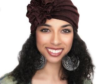 Dark Brown Flower Turban, Chemo Hat, Sleep Hat, Alopecia Cap,  Rayon Knit, Pretied Turban 300-11
