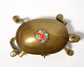 Vintage Brass Turtle Trinket Box Jeweled Accents Boho Bohemian