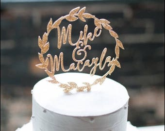 Cake Topper Gold Wedding Names Personalized Laurel Wreath in Gold Glitter or Rustic Chic Wedding Cake Topper Wreath (Item - LPT900)