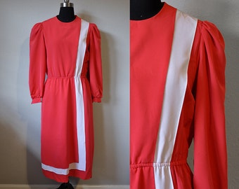 Bright Red 1980s Bold White Stripe Gathered Sleeve Retro Dress Pockets Size 6 Women Elastic Waist