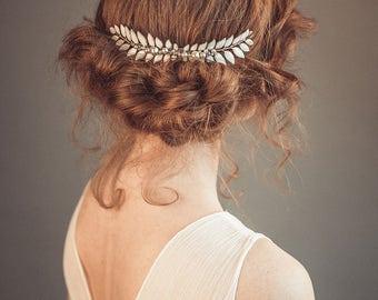 Grecian bridal headpiece - Leaf hairpiece - Grecian hair piece -  Leaf hair comb - Bridal hair comb