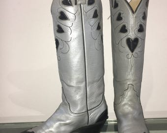vintage 80s Justin heart boots metallic silver leather black hearts FITS 6.5