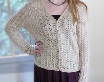 Vintage Cream Shimmer Sparkle Knit Cardigan Sweater Cotton Button Up Open Weave M