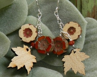 Laser Cut Wood Maple Leaves, Czech Glass and Gold Filled Earrings