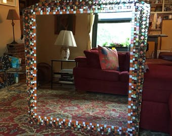 Handcrafted iridescent glass mosaic mirror