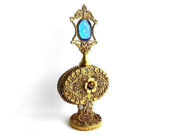 "Antique Art Nouveau Blue Jeweled Rococo Gold Ormolu Perfume Bottle - 24 Karat Gold Plated - Vintage Collectible Bathroom Vanity - 9"" High"