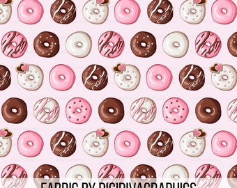 Valentine Donut Fabric By The Yard - Pink Heart Doughnut Icing Sprinkle Print in Yards & Fat Quarter