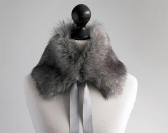 Grey faux fur collar. Winter neck warmer. Fur scarf. Buy faux fur collar. Fake fur neck warmer. Grey fur scarf. Christmas gift. Grey collar.