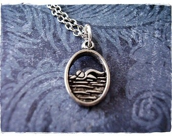 Silver Swimmer Necklace - Antique Pewter Swimmer Charm on a Delicate Silver Plated Cable Chain or Charm Only