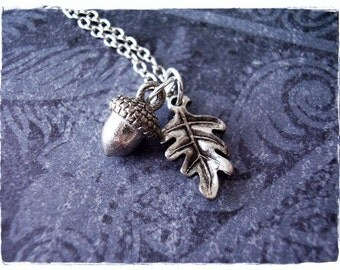 Silver Acorn and Oak Leaf Necklace - Antique Pewter Oak Leaf and Acorn Charms on a Delicate Silver Plated Cable Chain or Charms Only