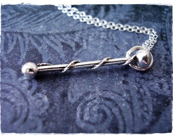 Silver Baton Necklace - Sterling Silver Baton Charm on a Delicate Sterling Silver Cable Chain or Charm Only