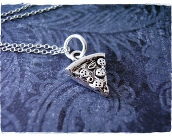 Tiny Pizza Slice Necklace - Sterling Silver Pizza Slice Charm on a Delicate Sterling Silver Cable Chain or Charm Only