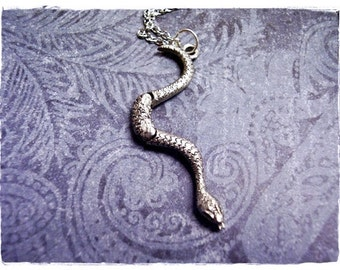 Silver Movable Snake Necklace - Antique Pewter Snake Charm on a Delicate Silver Plated Cable Chain or Charm Only