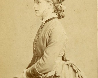 Woman in Profile Pose Wearing Very STYLISH VICTORIAN DRESS and Hat cdv Carte de Visite Photo London England circa 1870s