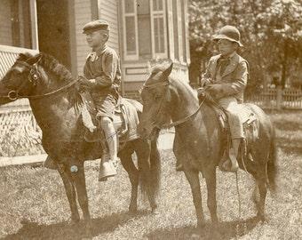 Two BAREFOOT Boys On PONIES  Photo circa 1905