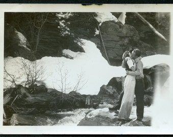 Man and Woman in PASSIONATE KISS Standing Next to Waterfall ROMANTIC Photo circa 1940s