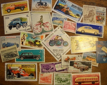 25 Cars Motorcycles Used World Postage Stamps crafting collage cards altered art scrapbooks decoupage collecting philately 11e