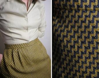 SALE Herringbone Yellow and Black Wool Skirt with Pockets 12 14