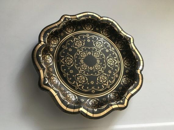 12 BLACK \u0026 GOLD PAPER Plates Vintage Style Baroque Fancy Tableware Halloween Party Bridal Shower Wedding Gatsby Hollywood Glam Plate Floral & 12 BLACK \u0026 GOLD PAPER Plates Vintage Style Baroque Fancy Tableware ...