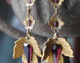 February Foliage--Vintage Amethyst Glass Rhinestone Leaf Charms Flower Links Sterling EARRINGS