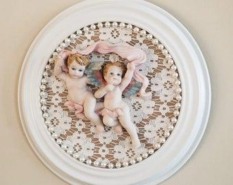 Round Cherub Picture Nursery Wall Decor Baby Gift Handmade by OlliesFineThings