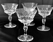 SALE 4 Cut Glass Crystal Champagne Glasses Coupe Champagne Glasses Fancy Crystal Stemware