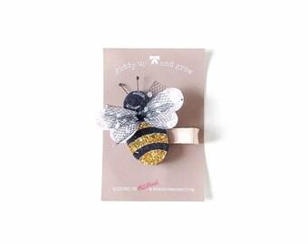 Felt Hair Clip - Summer Bumble Bee Hair Clip with no slip grip, giddyupandgrow
