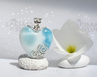 Larimar pendant from Larimarandsilver, The Snows of Love - ice blue Larimar heart, frozen heart, silver blue love, handmade Larimar pendant