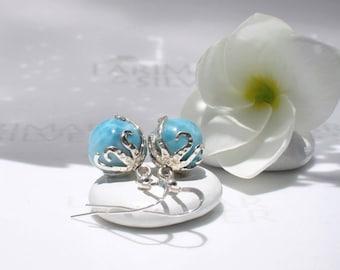 Octopus Larimar earrings from Larimarandsilver, Octopus Pearls 3 - sky blue Larimar pearl, crystal blue bead turtleback, blue pearl earrings