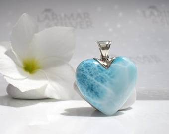 Larimar heart pendant by Larimarandsilver, Fizzy Love - water blue Larimar stone, blue waterfall heart, turtleback aqua blue Larimar pendant