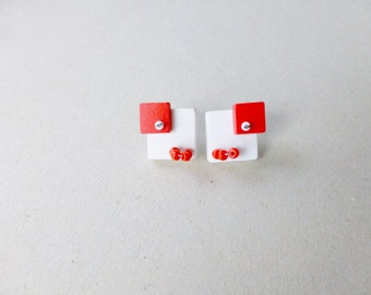 geometric minimalist post earrings, square white red, bauhaus contemporary jewelry