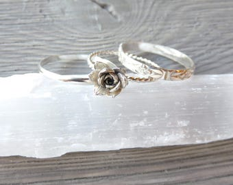 Succulent rings, Sempervivum, Silver rings, Silver stacking rings, nature jewelry, stacking rings, wedding jewelry, plant, succulent jewelry