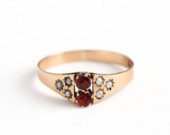 Sale - Antique Victorian 8k Rose Gold Garnet & Seed Pearl Ring - Size 6 3/4 Vintage 1900s Red January Birthstone Star Incised Fine Jewelry