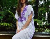 White Purple Marrakech Resort Caftan Kaftan Spring dressSummer dress trendy beach cover ups resortwearmaxi dresses birthdays h